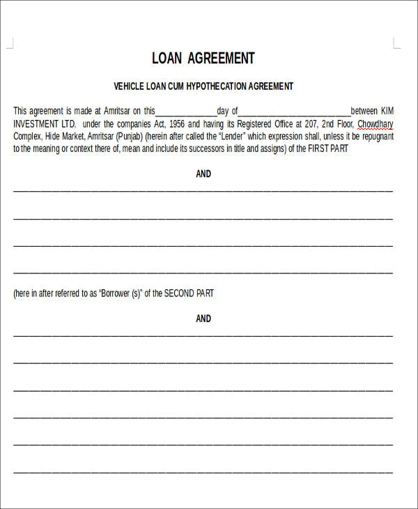 Agreement Forms in Doc - investment agreement doc