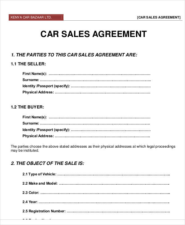 Printable Agreement Samples - car sales contract sample