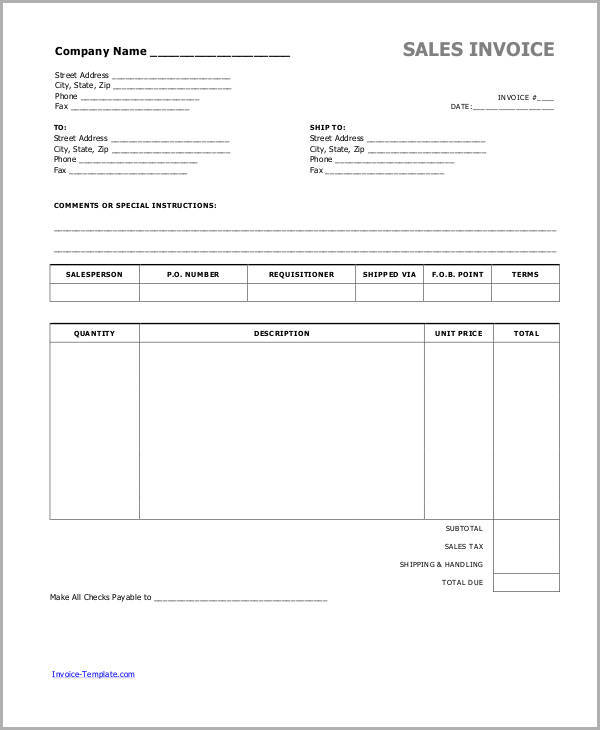 6+ Cash Invoice Samples Sample Templates - Cash Invoice Template