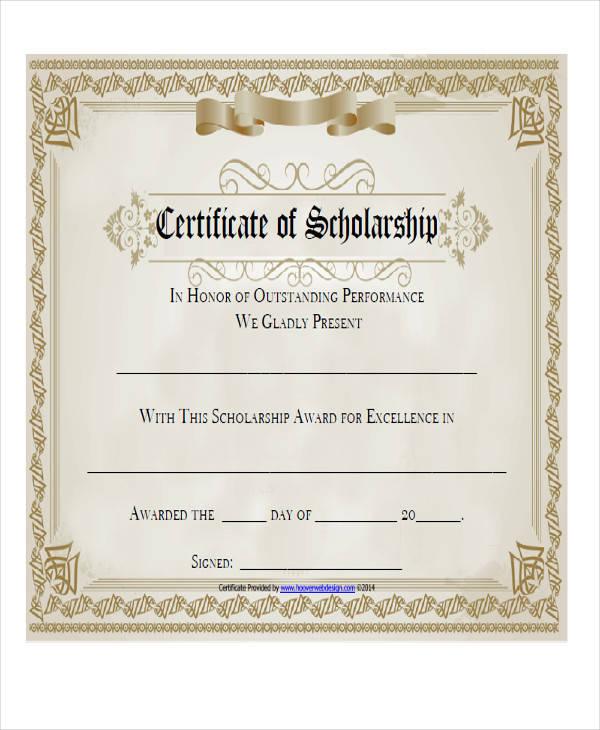 scholarship certificate templates