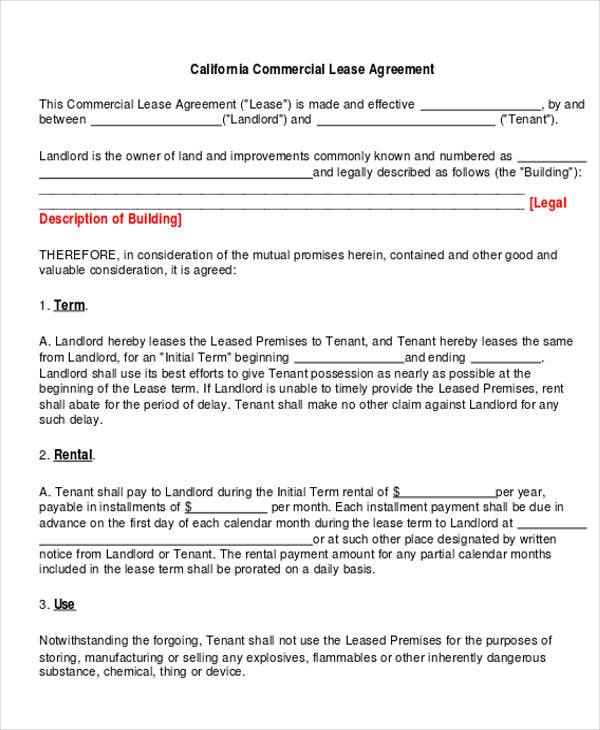 Commercial Business Form free sample business agreement form - 8+ - sample commercial lease agreement
