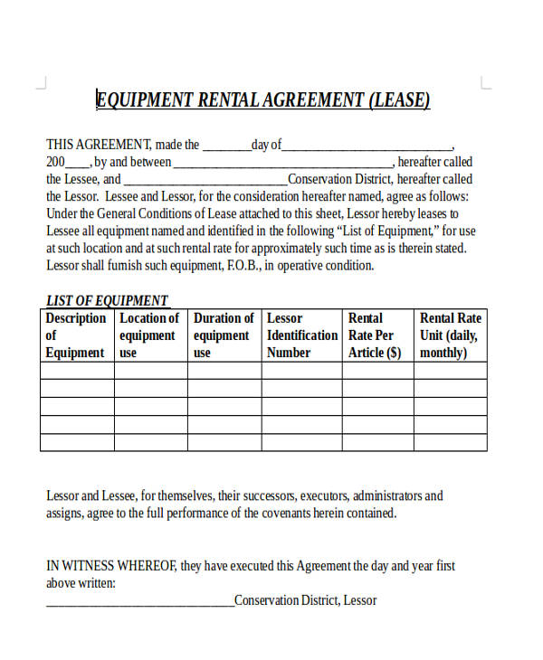 Commercial Lease Agreement - equipment rental agreement sample