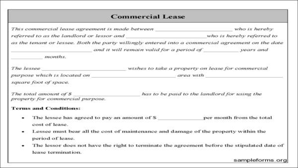 33+ Commercial Lease Agreement Samples Sample Templates - commercial lease agreement sample