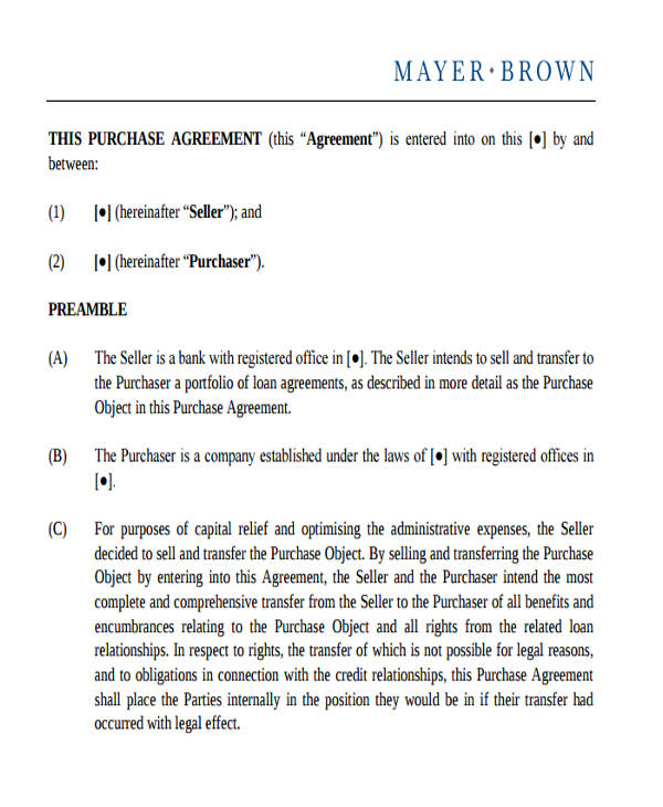 Commercial Agreement Format - commercial purchase agreements
