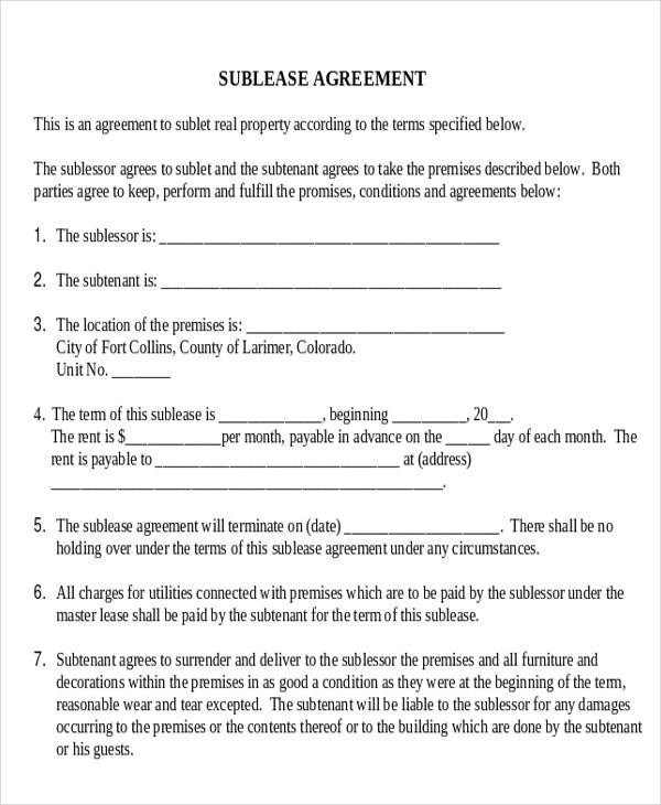 Commercial Agreement Example - sublease agreement