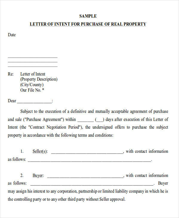 60+ Sample Letters of Intent Sample Templates