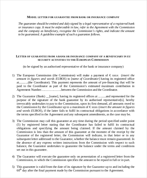 Guarantee Letter - copy application for bank guarantee letter format