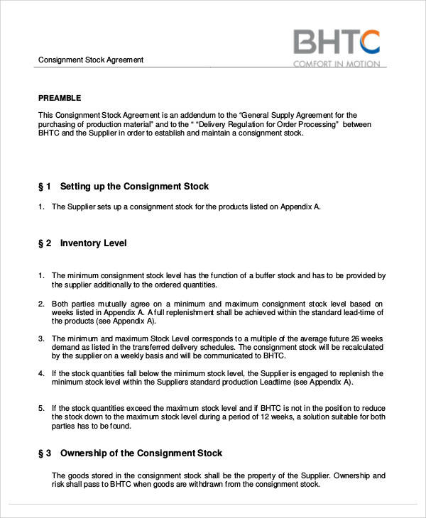 Consignment Agreement Template - vheo