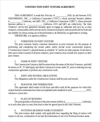 Sample Agreements in PDF - joint partnership agreement template