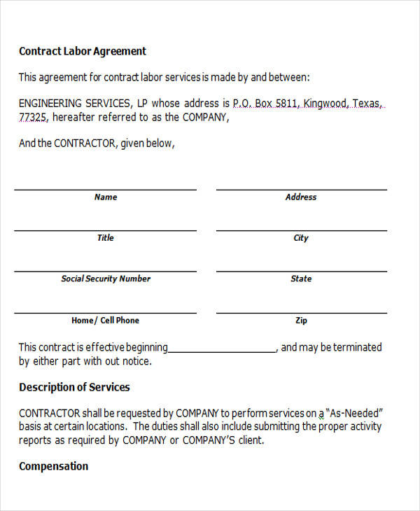 9 Labor Contract Sles Templates Pdf Doc ~ Labour Contract Template