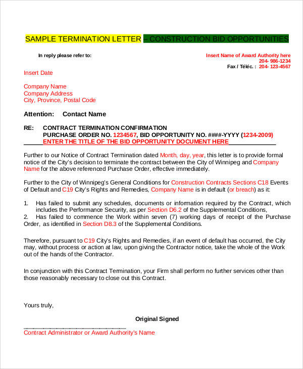 38 Termination Letter Samples  Templates Sample Templates - contract termination letter sample