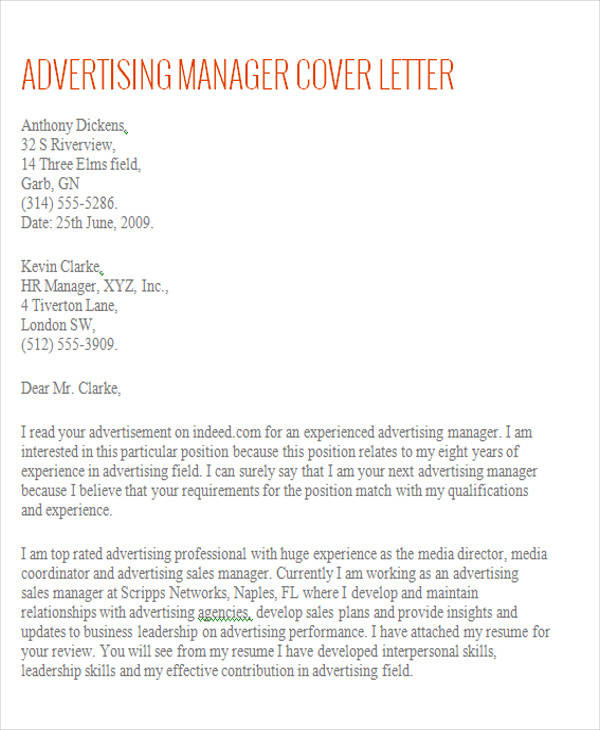 account manager cover letters