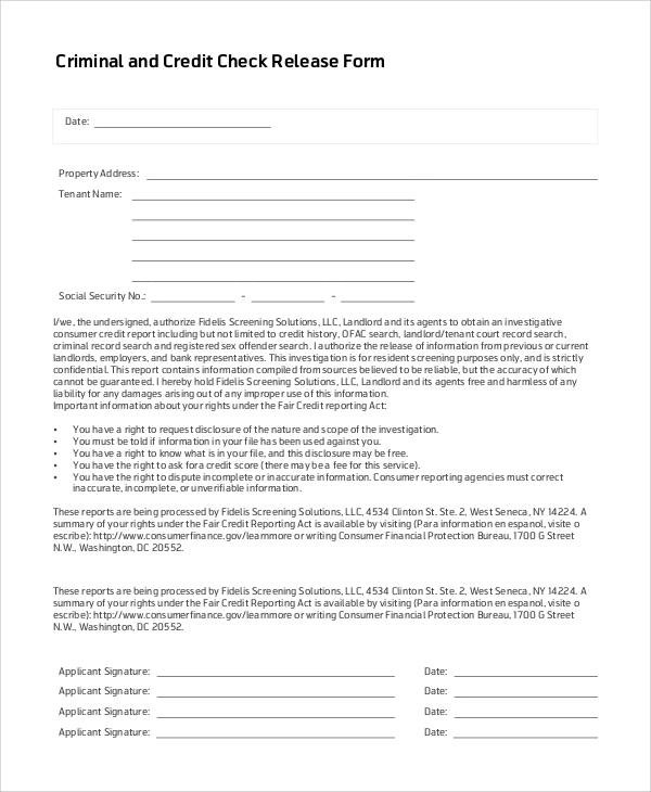 53+ Generic Release Forms Sample Templates - Credit Check Release Form