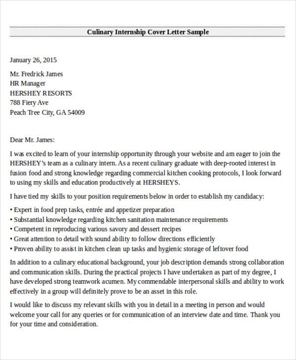 sample of internship letter application