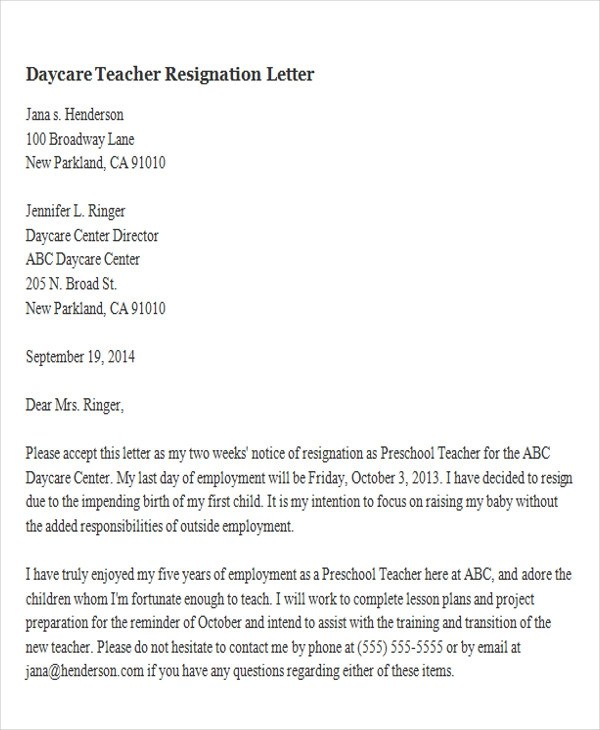 65+ Sample Resignation Letters Sample Templates - sample letter to withdraw child from daycare