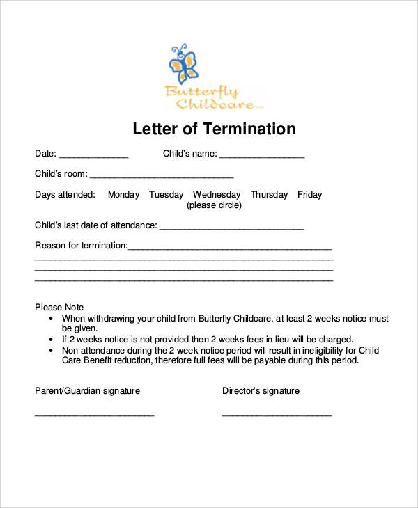 37+ Examples of Termination Letters Sample Templates - sample letter to withdraw child from daycare