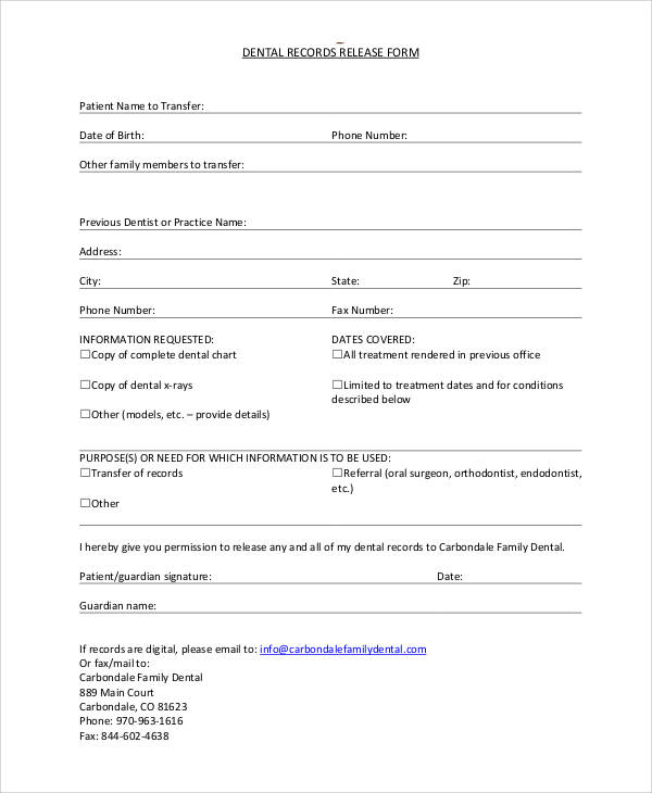 Generic Release Forms   Dental Release Form