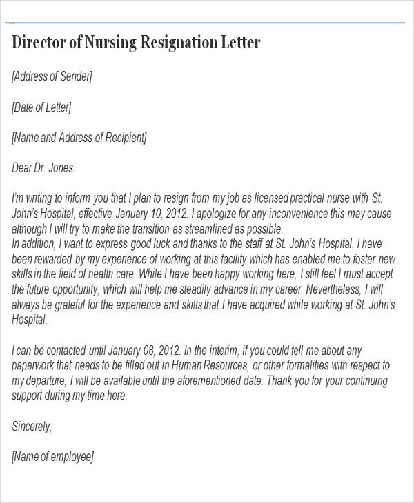 65+ Sample Resignation Letters Sample Templates - nurse resignation letter