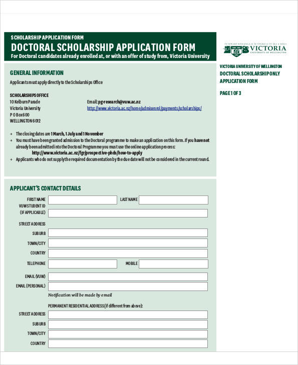 Application Form Samples