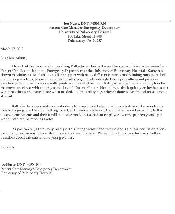 letters of recommendation for nurses