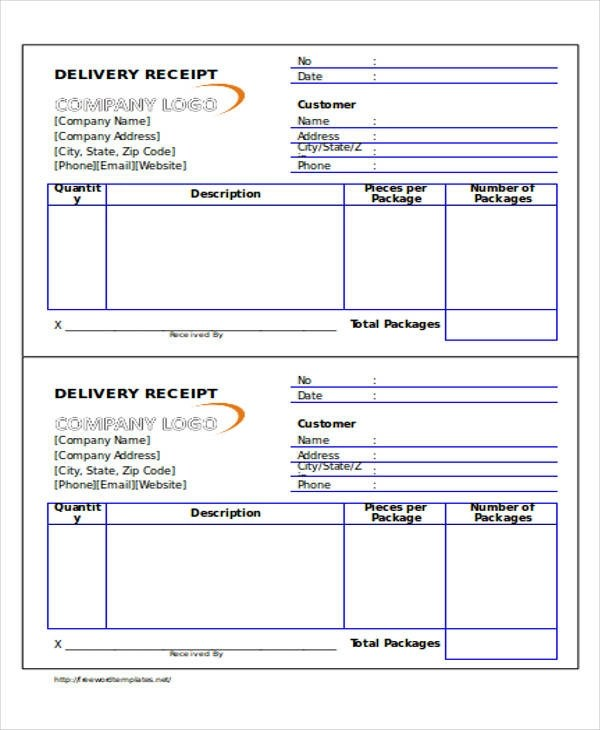 36+ Printable Receipt Forms Sample Templates - Delivery Receipt Form