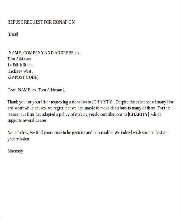 Donation Letter Examples - Refusal Letter
