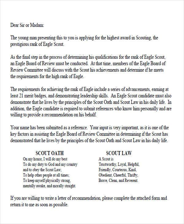 parents eagle scout recommendation letter sample