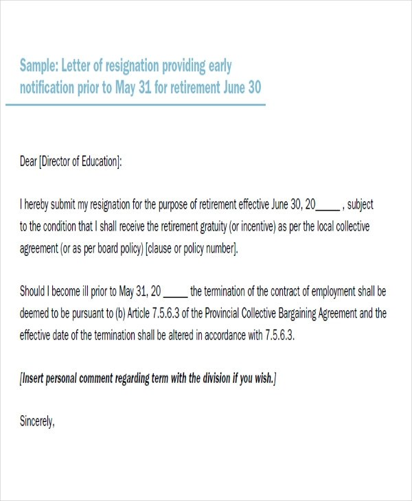letter of resignation due to retirement