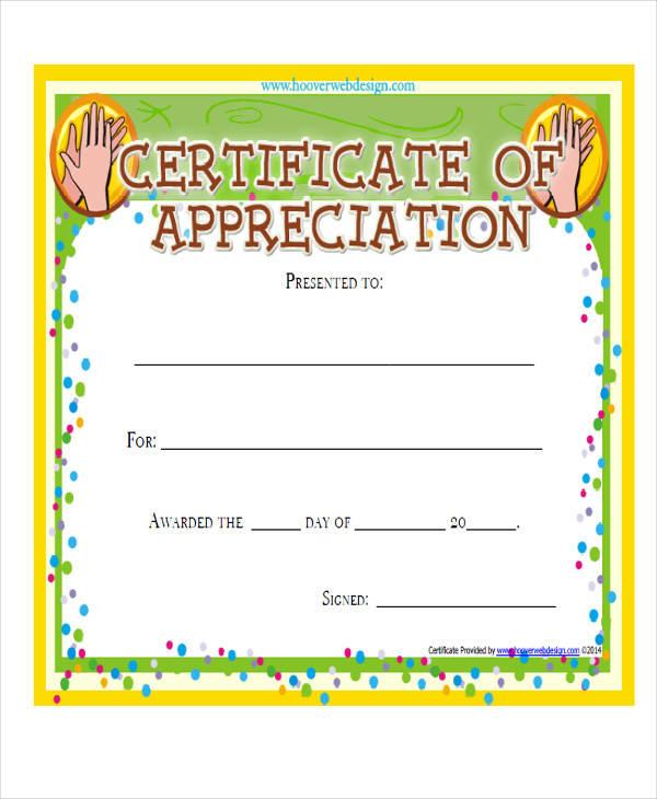 Employee Appreciation Certificate Template Free 6 Appreciation - employee award certificate templates free