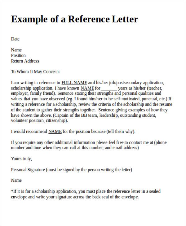 38+ Reference Letter Format Samples