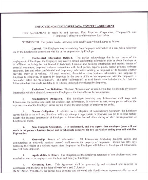 Printable Agreement Samples - business non compete agreement