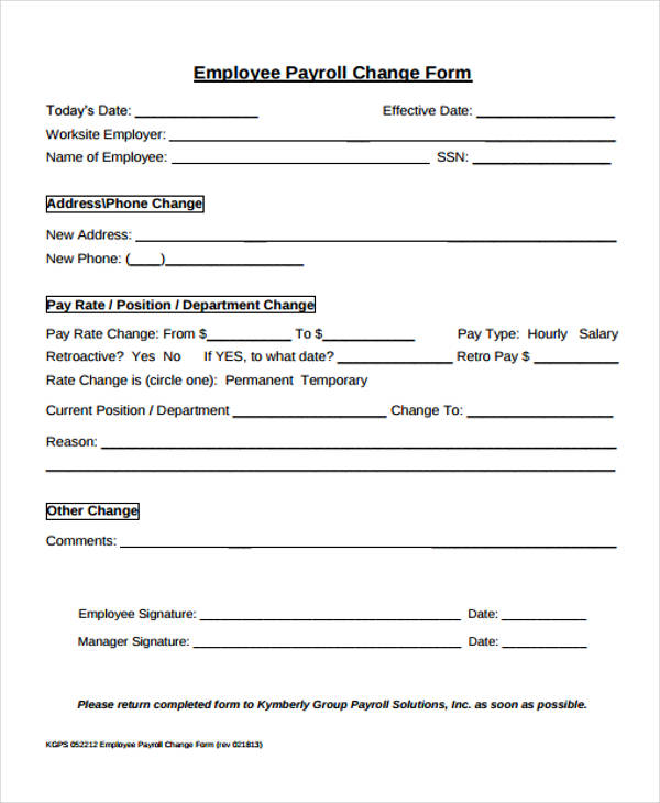 Employee Change Form untitled document sample employee personal – Employee Notice Form
