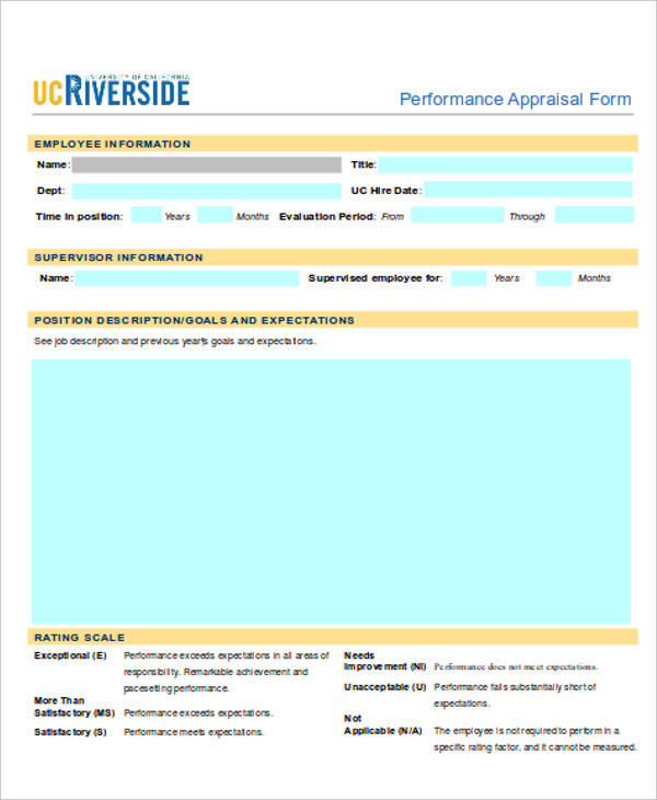 40+ Simple Appraisal Forms Sample Templates - employee performance appraisal form