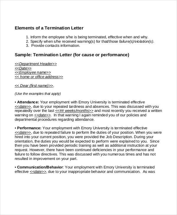 Sample Employee Contract Termination Sample Employee Termination Letter  Formats Csat Co