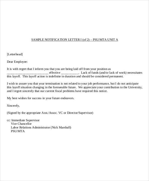 Business Termination Letter Free Printable Eviction Notice FREE - employee lay off letter