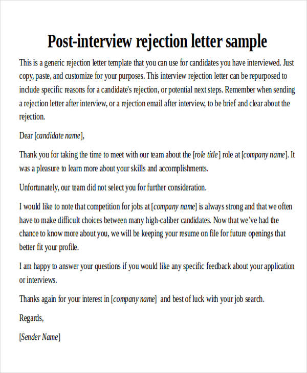 post interview thank you letter