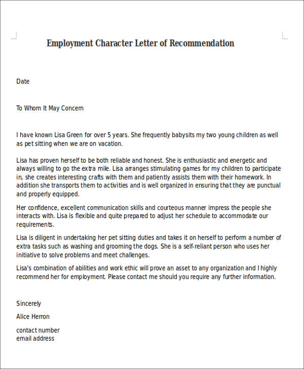 9+ Character Letter of Recommendation Samples Sample Templates
