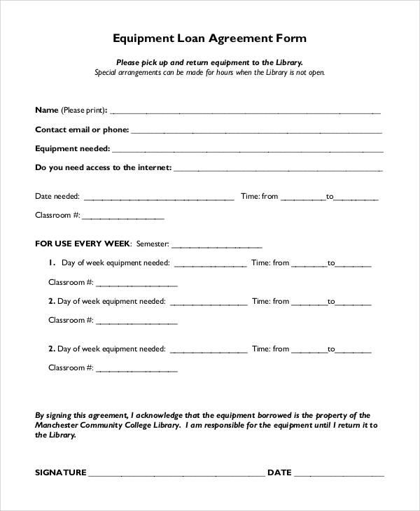 Agreement Form Sample - loan agreement form sample