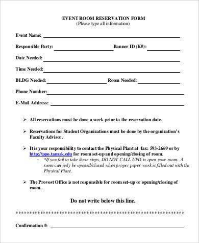 43+ Sample Reservation Forms Sample Templates