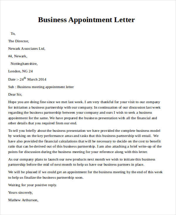 Sample Business Appointment Letter - 9+ Examples in Word, PDF