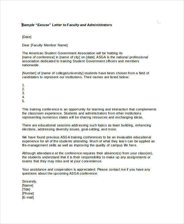 5+ Sample Formal Excuse Letters Sample Templates - how to write a absent letter