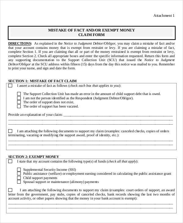 Claim Form Example towelbars