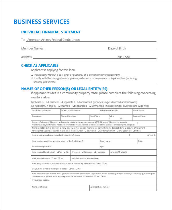 55+ Printable Statement Forms Sample Templates