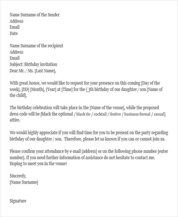 36 Invitation Letters Sample Templates - invitation letters
