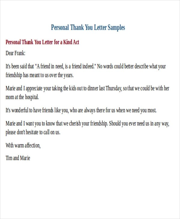 26 Sample Thank-You Letter Formats Sample Templates - personal thank you letter