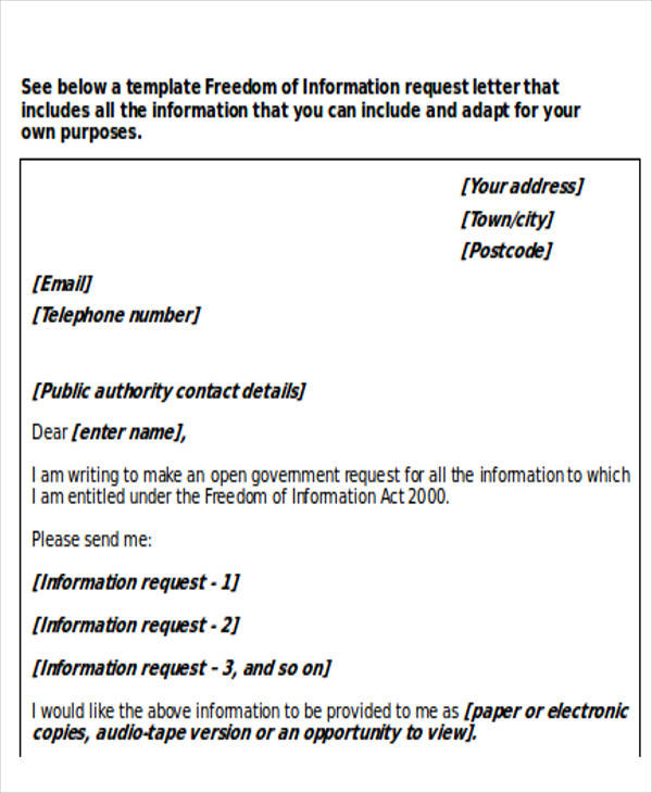 letters requesting information