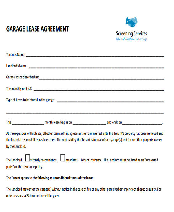 garage lease agreement