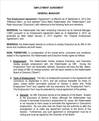 52+ Employment Agreement Samples - Word, PDF