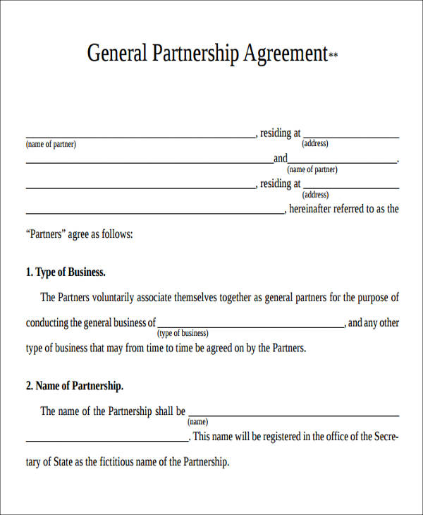 Free General Partnership Agreement Ichwobbledich