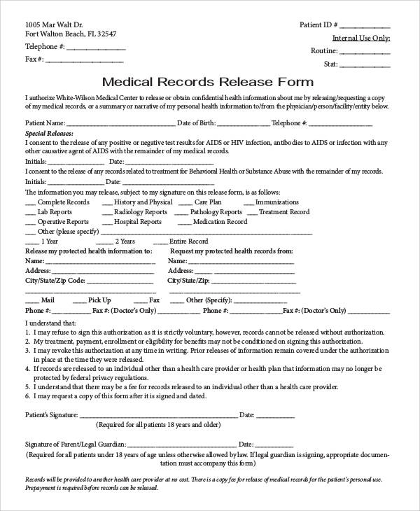 Generic Release Forms - medical records release form